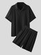 Plus Size Mens Plian Drop Shoulder Short Sleeve Knitted Two Piece Outfits - Black