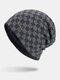 男性冬Plusベルベットコントラストチェック柄パターン屋外ニット暖かいビーニー帽子 - ネービー