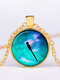 Vintage Dragonfly Women Necklace Alloy Glass Printing Pendant Sweater Chain - Gold