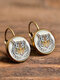 Vintage Round Glass Pendant Earrings Animal Pattern Cats Dogs Women Earrings - #10
