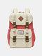 Women Waterproof Patchwork Large Capacity Travel Backpack School Bag - White
