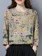 Vintage Flower Print Button Long Sleeve Lapel Collar Blouse - Beige