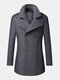 Mens Woolen Double Breasted Lapel Collar British Style Overcoats - Grey