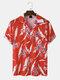Mens Flower Pattern Pocket Short Sleeve Button Up Revere Collar Shirt - Red