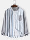 Mens Striped Patchwork Button Up Cotton Preppy Long Sleeve Shirts - Blue