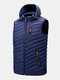 Mens Zip Up Casual Detachable  Drawstring Hooded Padded Gilet Vests - Navy