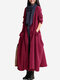 Vintage Lace Up Long Sleeve Pocket Maxi Coats For Women - Wine Red