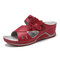 LOSTISY Flower Peep Toe Stitching Casual Wedges Sandals - Red