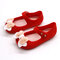 Girls Jelly Bow Hollow Toe Hook Loop Daily Soft Comfy Casual Loafers - Red
