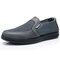 Men Mesh Leather Splicing Breathable Slip On Soft Casual Shoes