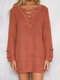 Solid Criss-cross Front V-neck Long Sleeve Knitted Sweater - Brick Red