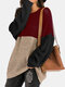 Contrast Color Patchwork Knitted Pullover Sweater For Women - Wine Red