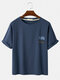 Mens Cartoon Cat Print Solid Color Loose Thin Round Neck Casual T-Shirts - Blue