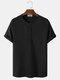 Herren gestrickte Waffel einfarbiges kurzärmliges lässiges T-Shirt - Schwarz