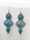 Vintage Rhombus Women Earrings Inlaid Turquoise Pendant Earrings - Silver