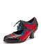 SOCOFY Splicing Color Block Rivet Leather Lace Up Comfy Round Toe Casual Hollow Out Heels Pumps - Black Red