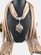 Bohemian Irregular Resin Accessories Alloy Base Women Tassel Pendant Scarf Necklace - #05
