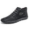 Men Hand Stitching Leather Non Slip Soft Sole Casual Ankle Boots - Black