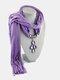 Vintage Women Scarf Necklace Solid Color Leaf Pendant Shawl Necklace - #10