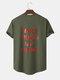 Mens Sport Style Slogan Back Print Curved Hem Cotton Short Sleeve T-Shirts - Army Green