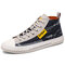 Men Washed Canvas High Top Lace Up Breathable Sneakers - Dark Blue