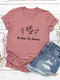 Casual Basic Letter Floral Short Sleeve O-neck T-Shirt - Purple Red