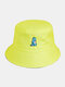Unisex Cotton Solid Color Cartoon Little Dinosaur Embroidery All-match Sun Protection Bucket Hat - Fluorescent Yellow