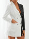 Stripe Contrast Color Patchwork Lapel Long Sleeve Double Breasted Blazer - White