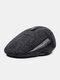 Men Woolen PU Patchwork Knitted Fine Lattice Pattern Hidden Ear Protection Casual Warmth Beret Flat Cap - Gray Patchwork