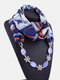 Vintage Chiffon Women Scarf Necklace Shell Flower Pendant Stripes Printed Shawl Necklace Clothing Accessories - #04