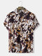 Mens All Over Splodge Watercolor Print Button Up Short Sleeve Shirts - Brown