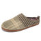 SOCOFY Solid Color Striped Household Cotton Slip On Indoor Flat Home Shoes Slippers - Green