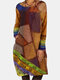 Contrast Color Patchwork Print Long Sleeve Vintage Dress For Women - Yellow