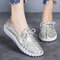 Women Soft Genuine Leather Lace Up Casual Walking Shoes - Gold