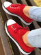 Plus Size Women Casual Solid Color Knitted Breathable Lace-up Soft Comfy Skate Shoes - Red
