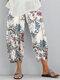 Vintage Print Elastic Waist Casual Pants For Women - Claret
