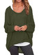 Casual Asymmetrical Solid Color Plus Size Blouse for Women - Army Green