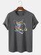 Mens Reflective Rainbow Cat Graphic Street 100% Cotton Short Sleeve T-Shirts - Dark Gray