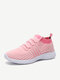 Woman Round Toe Mesh Breathable Slip-On Running Shoes - Pink
