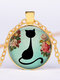 Vintage Geometric Glass Printed Women Necklace Cute Cartoon Cat Sweater Chain Clavicle Chain - #04