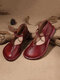 Women Big Round Toe Brief Slip On Comfortable Flat Loafers Shoes - Wine Red