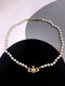 Luxury Full Diamond Shiny Saturn Women Necklace Crystal Pearl Saturn Pendant Necklace - #08