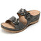 LOSTISY Breathable Flower Slippers Casual Gray Wedges Sandals