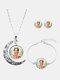 3 Pcs Printed Men Women Jewelry Set Wearing Garland Hollow Half Moon Necklace Bracelet Earring - #04