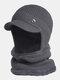 男性2PCSPlusベルベット厚い冬の屋外耳首保護ヘッドギアスカーフニット帽ビーニー - 暗灰色