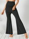 Solid Color Elastic Plus Size Yoga Bell Legging Pants - Black