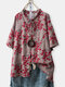 Printed O-neck Vintage Blouses for Women