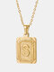 Vintage Gold Square Stainless Steel Letter Pattern Pendant - S