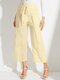 Solid Color Bowknot Knotted High Waist Loose Casual Pants - Apricot