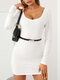 Solid Color Lace Patchwork Long Sleeve Mini Sexy Dress - White